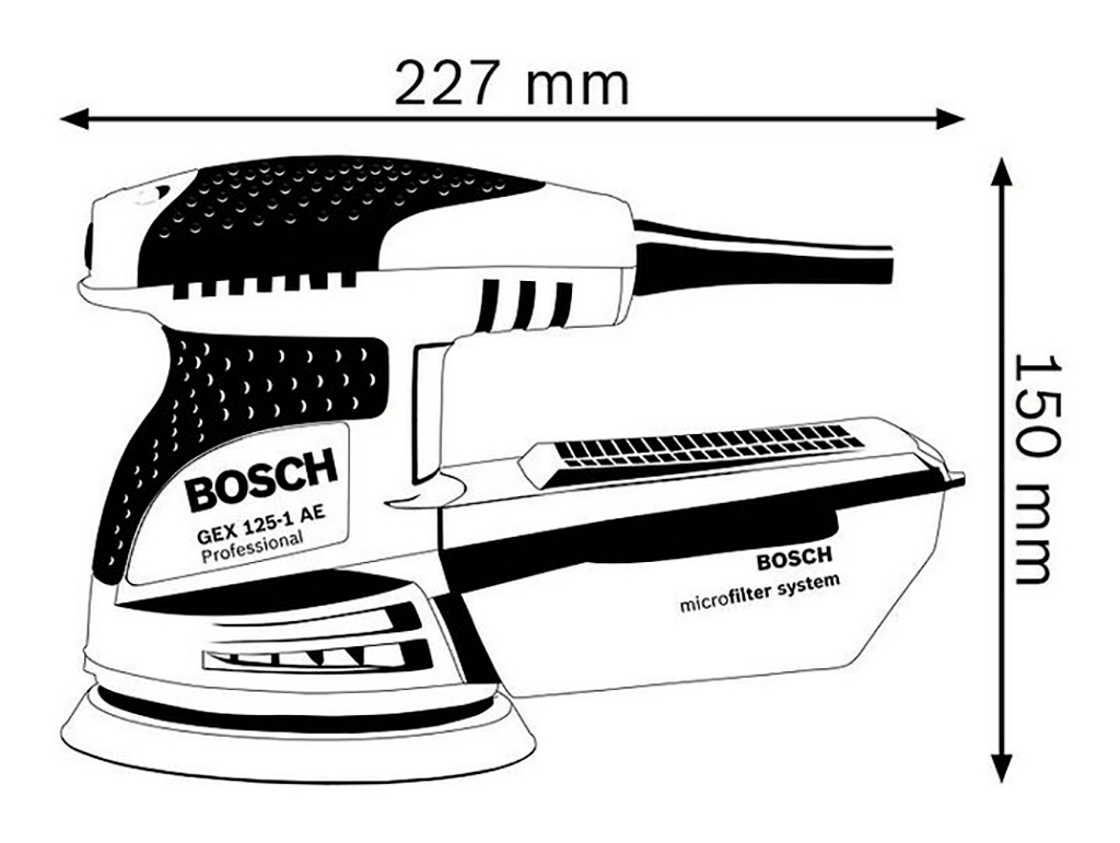 Description photo 1 of BOSCH GEX 125-1 AE ECCENTRIC DISC SANDER 250W<br>BOSCH GEX 125-1 ម៉ូទ័រខាត់ 250 វ៉ាត់