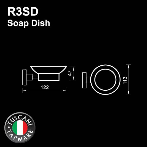 Description photo 1 of TUSCANI R3SD CERAMIC SOAP DISH <br> ធ្នើរសេរ៉ាមិចដាក់សាប៊ូ