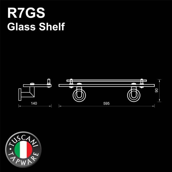 Description photo 1 of TUSCANI R7GS GLASS SHELF (WITH RAILING) <br> ធ្នើរកញ្ចក់