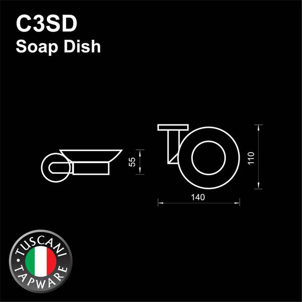 Description photo 1 of TUSCANI C3SD SOAP DISH 304STAINLESS STEEL MIRROR POLISH <br> ធ្នើរដាក់សាប៊ូ