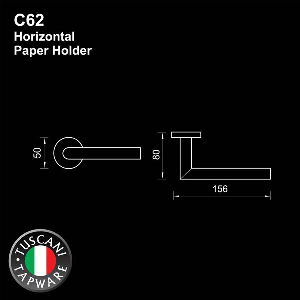 Description photo 1 of TUSCANI C62 PAPER HOLDER 304STAINLESS STEEL MIRROR POLISH <br> ឧបករណ៍ព្យួរក្រដាសអនាម័យ
