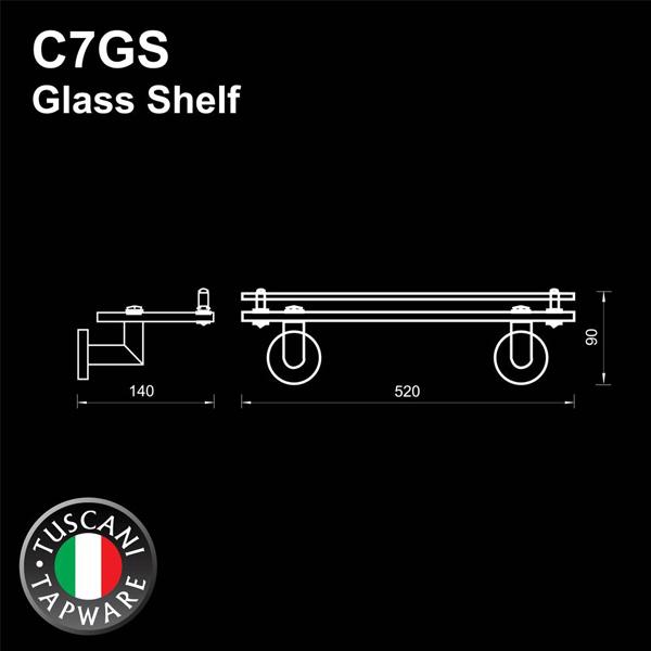 Description photo 1 of TUSCANI C7GS GLASS SHELF 304STAINLESS STEEL MIRROR POLISH <br> ធ្នើរកញ្ចក់ដាក់ក្នុងបន្ទប់ទឹក