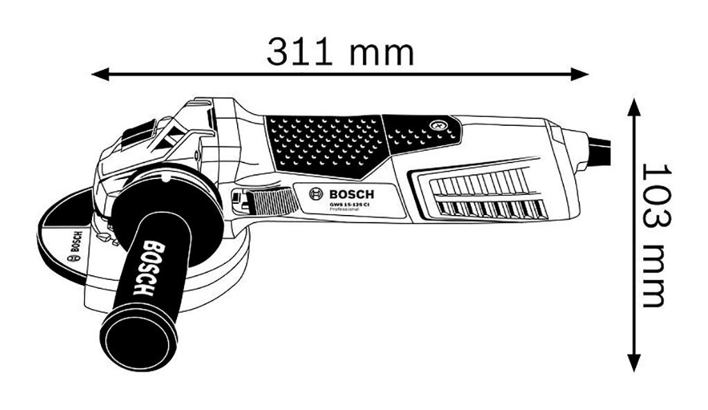 Description photo 1 of BOSCH GWS 15-125 PROFESIONAL 1500W<br>BOSCH GWS 15-125 ម៉ូទ័រឆាប និង កាត់ 1500 វ៉ាត់