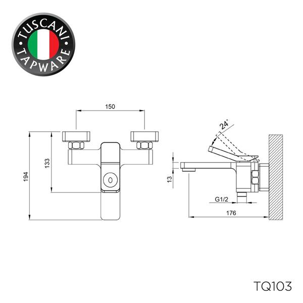 Description photo 1 of TUSCANI TQ103 BATH & SHOWER MIXER (NEW HANDLE) <br> ក្បាលរ៉ូប៊ីណេប្រើជាមួយអាងងូតទឹក