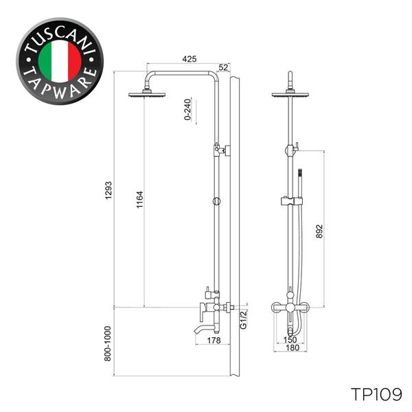 Description photo 1 of TUSCANI TP109 BATH & SHOWER COLUMN MIXER <br> ឈុតផ្កាឈូកងូតទឹក