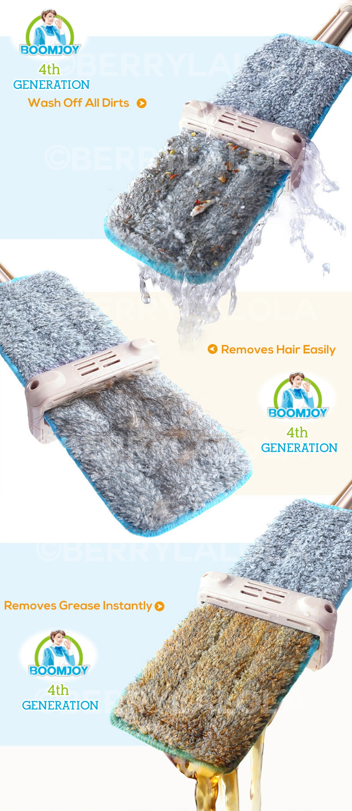 Feature photo 1 of BOOMJOY EH-380 HAND-FREE FLAT MOP<br>ប្រដាប់ជូតផ្ទះ<br>免提拖把